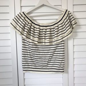 Jcrew Off Shoulder Striped Top